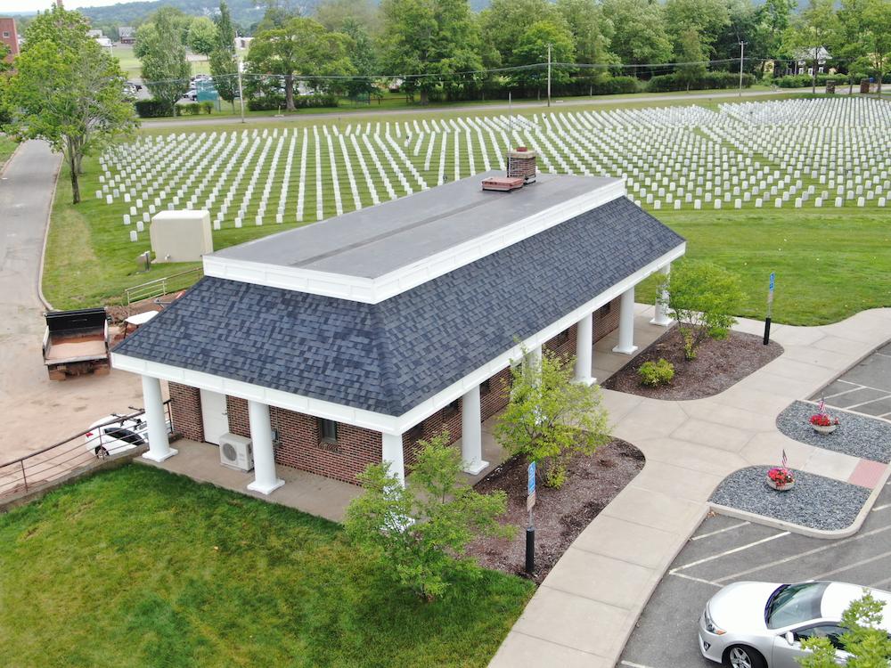 PVC Fascia, Columns and Architectural Asphalt - Veteran's Cemetery
