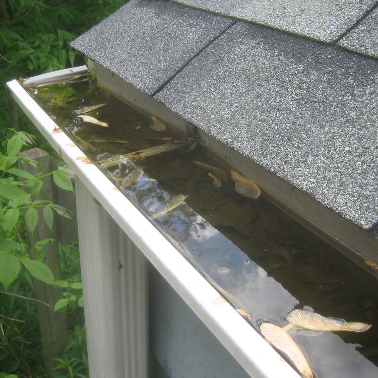 Clogged Gutters should be cleared during a roof inspection