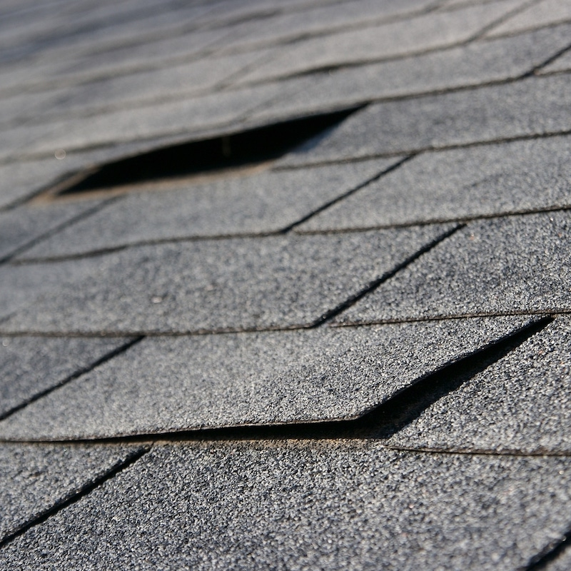 Roof Shingle Damage seen during a Roof Inspection